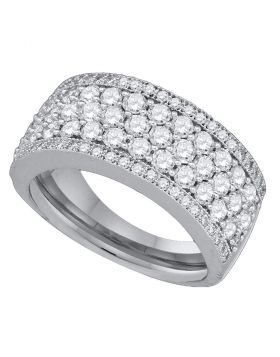 14kt White Gold Womens Round Diamond Band Ring 1-5/8 Cttw