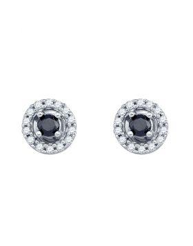 10kt White Gold Womens Color Enhanced Black Diamond Stud Earrings 1/2 Cttw