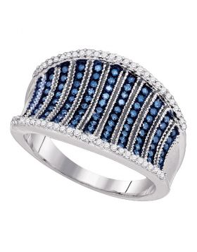 10kt White Gold Womens Blue Color Enhanced Diamond Cocktail Concave Ring 1/2 Cttw