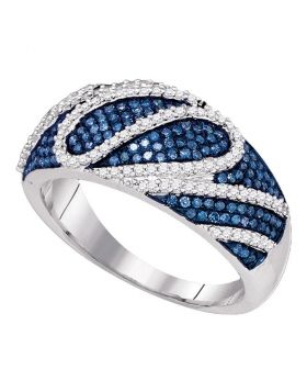10kt White Gold Womens Round Blue Color Enhanced Diamond Playful Striped Band Ring 5/8 Cttw