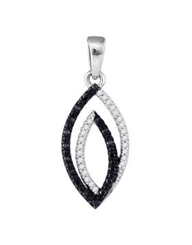 10kt White Gold Womens Round Black Color Enhanced Diamond Oval Pendant 1.00 Cttw