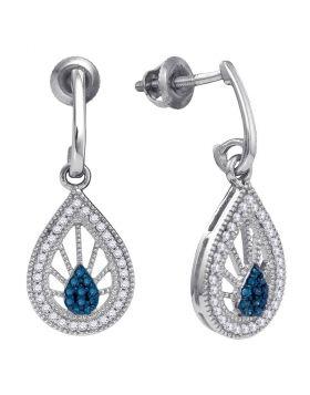 10kt White Gold Womens Round Blue Color Enhanced Diamond Teardrop Screwback Earrings 1/4 Cttw