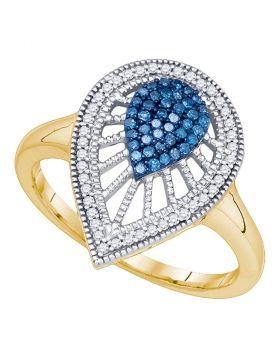 10kt Yellow Gold Womens Round Blue Color Enhanced Diamond Teardrop Cluster Ring 1/4 Cttw