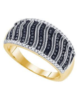 10kt Yellow Gold Womens Round Black Color Enhanced Diamond Band Ring 3/8 Cttw