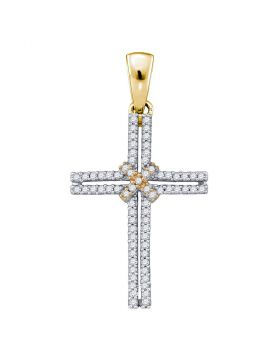 10kt Yellow Gold Womens Round Diamond Bound Cross Pendant 1/5 Cttw