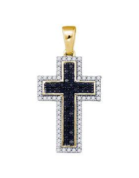 10kt Yellow Gold Womens Round Black Color Enhanced Diamond Cross Religious Pendant 1/4 Cttw