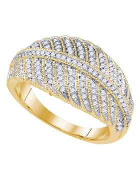 10kt Yellow Gold Womens Round Diamond Milgrain Striped Band Ring 3/8 Cttw