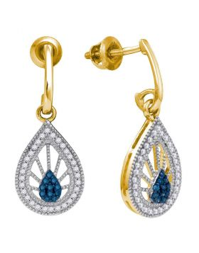 10kt Yellow Gold Womens Round Blue Color Enhanced Diamond Teardrop Dangle Earrings 1/4 Cttw