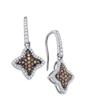 10kt White Gold Womens Round Cognac-brown Color Enhanced Diamond Star Dangle Earrings 5/8 Cttw