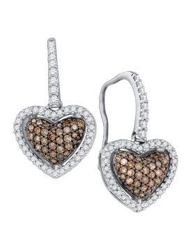 10kt White Gold Womens Cognac-brown Color Enhanced Diamond Heart Dangle Earrings 5/8 Cttw