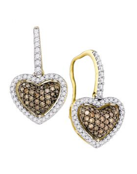 10kt Yellow Gold Womens Cognac-brown Color Enhanced Diamond Heart Dangle Earrings 5/8 Cttw
