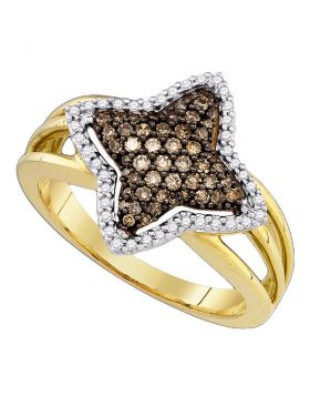 10k Yellow Gold Cognac-brown Color Enhanced Diamond Womens Star-shape Fancy Cluster Ring 3/8 Cttw