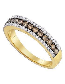 14k Yellow Gold Cognac-brown Color Enhanced White Diamond Pave-set Womens Unique Band Ring 1/2 Cttw