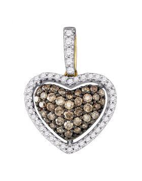 10kt Yellow Gold Womens Round Cognac-brown Color Enhanced Diamond Heart Pendant 1/2 Cttw