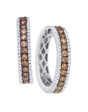 14kt White Gold Womens Round Cognac-brown Color Enhanced Diamond Hoop Earrings 1.00 Cttw
