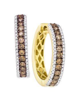 14kt Yellow Gold Womens Round Cognac-brown Color Enhanced Diamond Hoop Earrings 1.00 Cttw