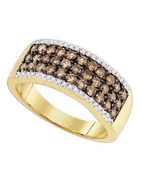 14kt Yellow Gold Womens Round Cognac-brown Color Enhanced Diamond Band Ring 1.00 Cttw
