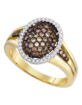 10kt Yellow Gold Womens Round Cognac-brown Color Enhanced Diamond Oval Cluster Ring 1/2 Cttw