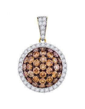 10kt Yellow Gold Womens Round Cognac-brown Color Enhanced Diamond Circle Frame Cluster Pendant 1-1/2 Cttw