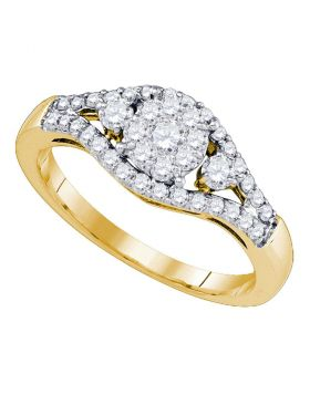 10kt Yellow Gold Womens Round Diamond Flower Cluster Ring 5/8 Cttw