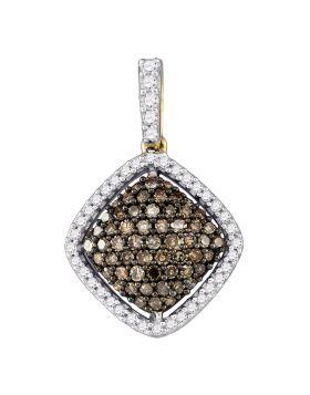 10kt Yellow Gold Womens Round Cognac-brown Color Enhanced Diamond Square Cluster Pendant 1/2 Cttw