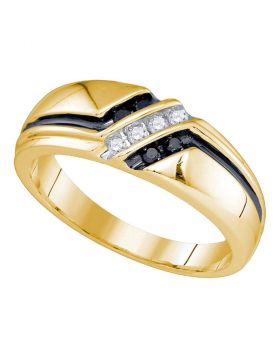 10kt Yellow Gold Mens Round Black Color Enhanced Diamond Band Ring 1/5 Cttw