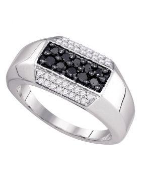 10kt White Gold Mens Round Black Color Enhanced Diamond Band Ring 3/4 Cttw