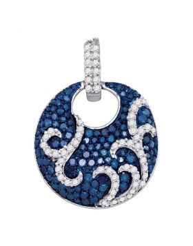 10kt White Gold Womens Round Blue Color Enhanced Diamond Curl Stripe Circle Pendant 1/2 Cttw
