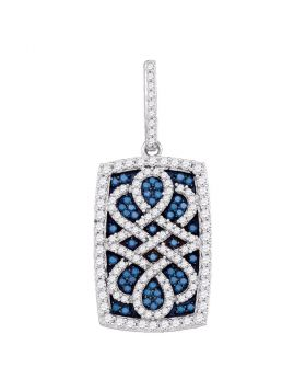 10kt White Gold Womens Round Blue Color Enhanced Diamond Rectangle Frame Cluster Pendant 7/8 Cttw