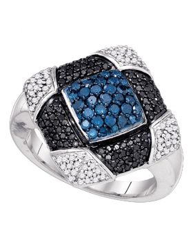 10kt White Gold Womens Round Blue Black Color Enhanced Diamond Square Cluster Ring 7/8 Cttw