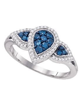 10kt White Gold Womens Round Blue Color Enhanced Diamond Teardrop Cluster Ring 1/2 Cttw