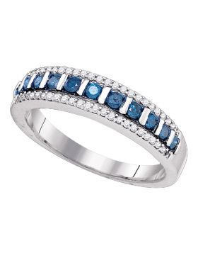 10kt White Gold Womens Blue Color Enhanced Diamond Unique Band Ring 1/3 Cttw