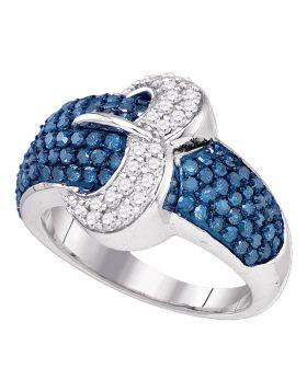 10kt White Gold Womens Blue Color Enhanced Diamond Belt Buckle Cocktail Ring 1-3/8 Cttw