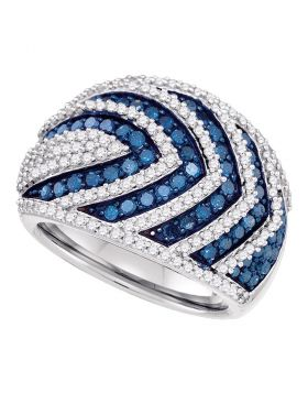 10kt White Gold Womens Round Blue Color Enhanced Diamond Striped Fashion Ring 1-3/4 Cttw