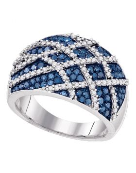 10kt White Gold Womens Round Blue Color Enhanced Diamond Cocktail Lattice Ring 1-1/3 Cttw