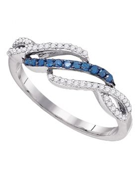 10kt White Gold Womens Round Blue Color Enhanced Diamond Woven Band Ring 1/4 Cttw