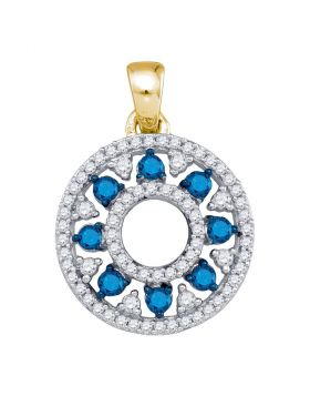 10kt Yellow Gold Womens Round Blue Color Enhanced Diamond Circle Cutout Pendant 1/2 Cttw