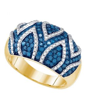 10kt Yellow Gold Womens Round Blue Color Enhanced Diamond Cocktail Ring 7/8 Cttw