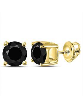 14kt Yellow Gold Unisex Round Black Color Enhanced Diamond Solitaire Stud Earrings 2.00 Cttw