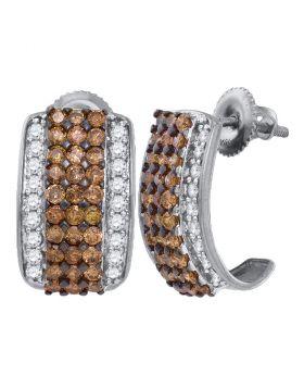 10kt White Gold Womens Round Cognac-brown Color Enhanced Diamond Stud Earrings 1-7/8 Cttw