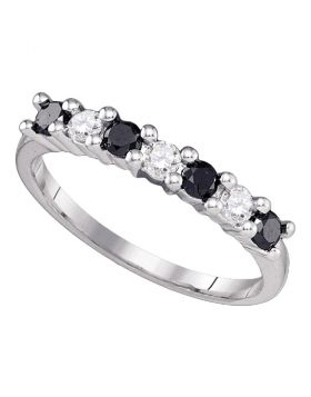 10k White Gold Womens Black Color Enhanced Round Diamond Wedding Anniversary Band 1/2 Cttw