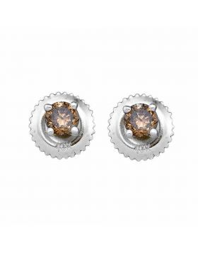 10kt White Gold Womens Round Brown Color Enhanced Diamond Stud Earrings 1/2 Cttw