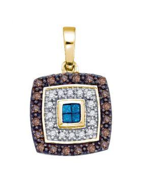 10kt Yellow Gold Womens Blue Cognac-brown Color Enhanced Diamond Square Frame Pendant 3/8 Cttw