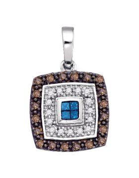 10kt White Gold Womens Blue Cognac-brown Color Enhanced Diamond Square Frame Pendant 3/8 Cttw