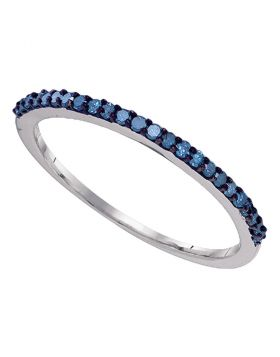 10kt White Gold Womens Round Blue Color Enhanced Diamond Band Ring 1/5 Cttw