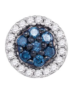 10kt White Gold Womens Round Blue Color Enhanced Diamond Cluster Earrings 1/2 Cttw