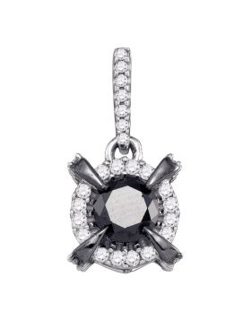 10kt White Gold Womens Round Black Color Enhanced Diamond Framed Solitaire Pendant 1/4 Cttw