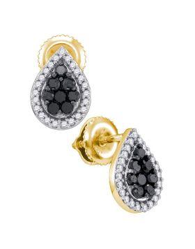 10kt Yellow Gold Womens Round Black Color Enhanced Diamond Teardrop Cluster Stud Earrings 1/2 Cttw