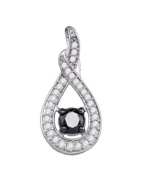 10kt White Gold Womens Round Black Color Enhanced Diamond Teardrop Pendant 1/4 Cttw