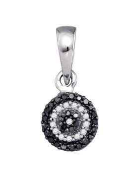 10k White Gold Womens Black Color Enhanced Round Diamond Concentric Circle Cluster Pendant 1/10 Cttw